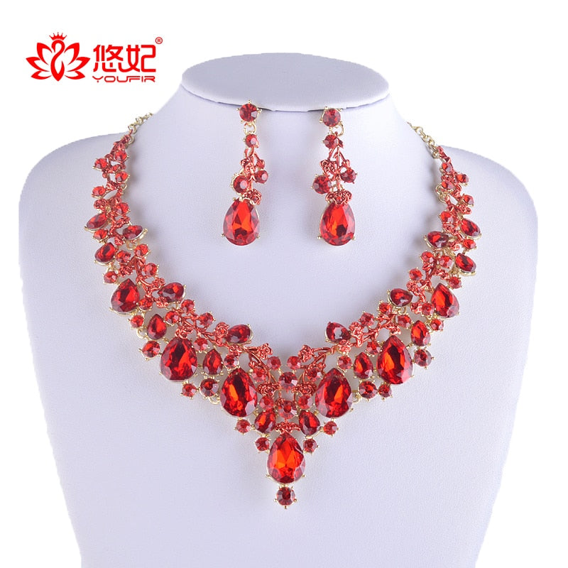 High quality rhinestone jewelry sets bridal necklace with earrings-JEWELRY SETS-US MART NEW YORK