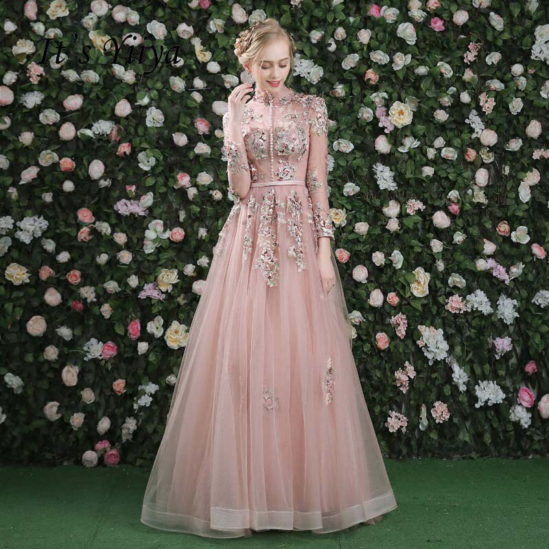It's Yiiya Pink Long Sleeves Floral Print Lace Up A-line Evening Dress Floor Length Party Gown Evening Gowns Prom Dresses-Dresses-US MART NEW YORK