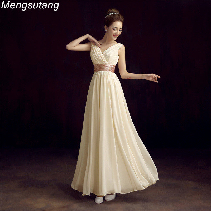 V-Neck Evening Dress Simple Solid Color Pleat Chiffon Vestidos de Festa Prom Dresses Tailor Custom Made-Dresses-US MART NEW YORK