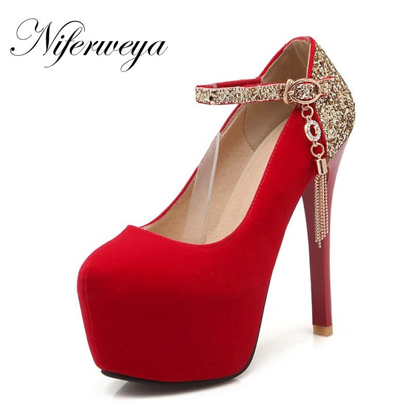 Fashion Spring/Autumn flock women red wedding shoes sexy Round Toe Mary Janes platform high heels