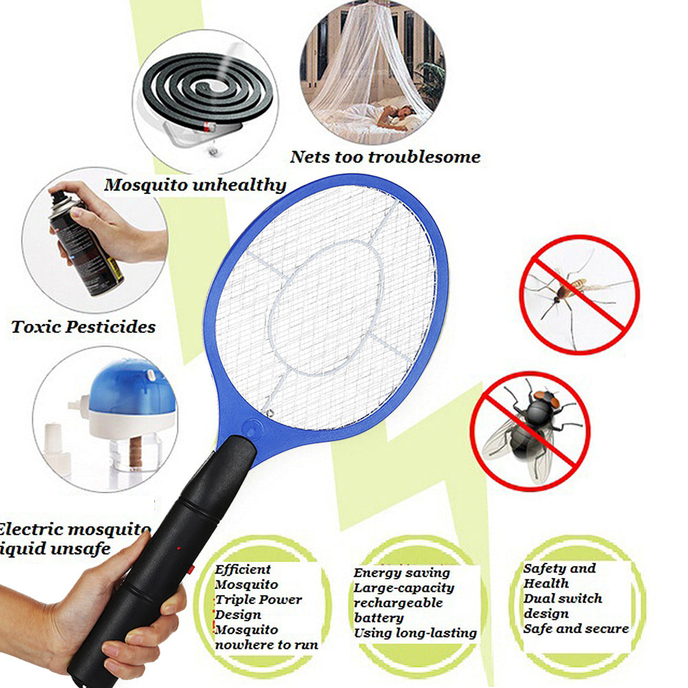 2 AA batteries Operated Hand Racket Electric Mosquito Swatter Insect Home Garden Pest Bug Fly Mosquito Zapper Swatter-Kitchen Helpers-US MART NEW YORK