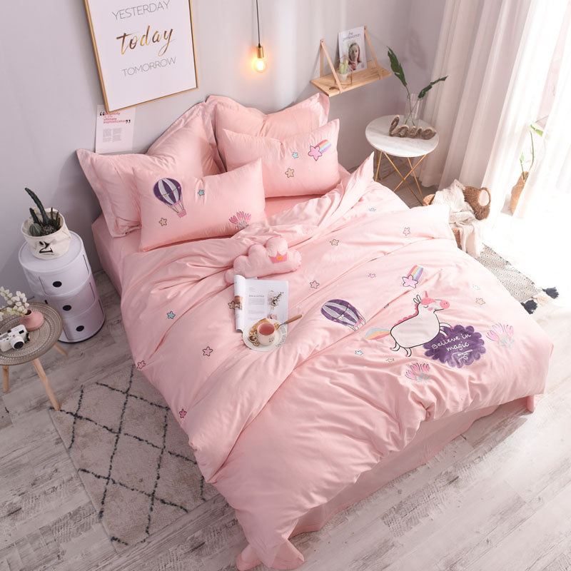 3/4Pcs Luxury Egypt Cotton Embroidered Cute Cartoon Unicorn Bedding Set-Blankets and Bedding-US MART NEW YORK