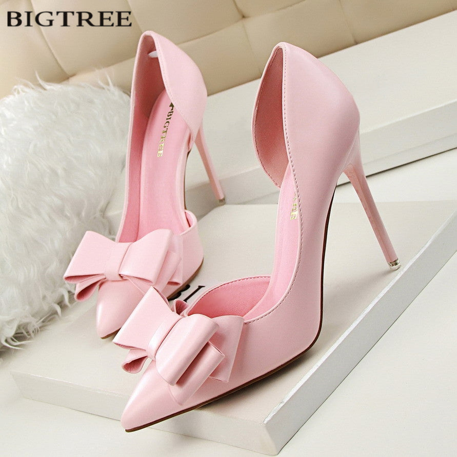 Elegant Pumps Sweet Bowknot High-heeled Shoes