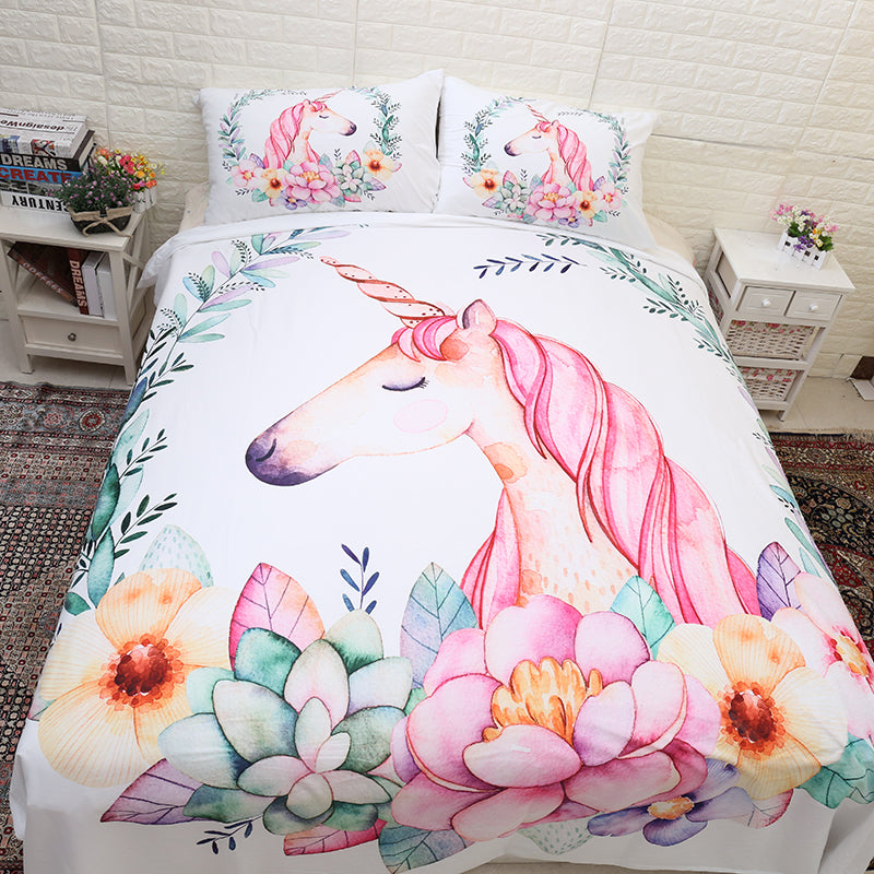 Cute Unicorn Bedding Set Cartoon Duvet Cover 3PCS Bedclothes-Blankets and Bedding-US MART NEW YORK