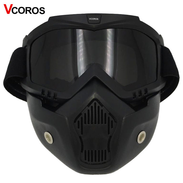 Detachable mask goggles for vintage motorcycle helmet monster mask for scooter jet retro moto helmets cosplay mask