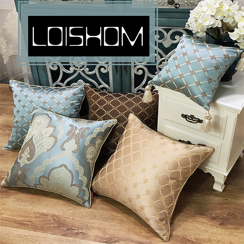 Luxurious European Jacquard Pillow Cover with Tassel-PILLOWS & COVERS-US MART NEW YORK