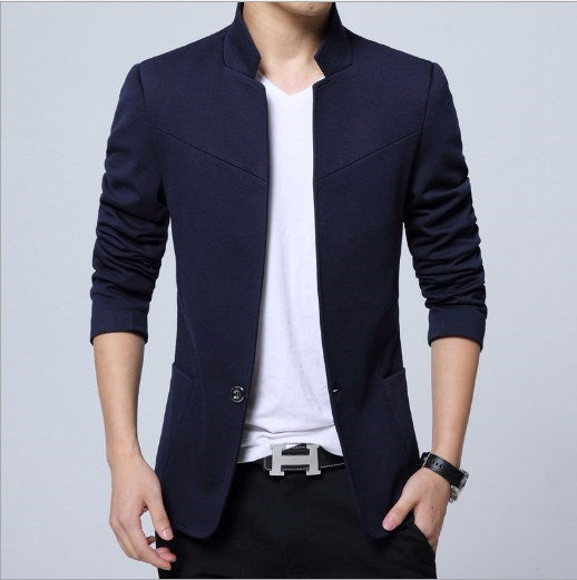 Men's Slim Fit Jacket Blazer Stand Collar Suits-JACKETS-US MART NEW YORK