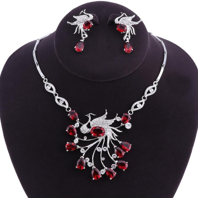 African Bridal Jewelry Sets Phoenix Bird Style Rhinestone Necklace and Earrings Set-JEWELRY SETS-US MART NEW YORK
