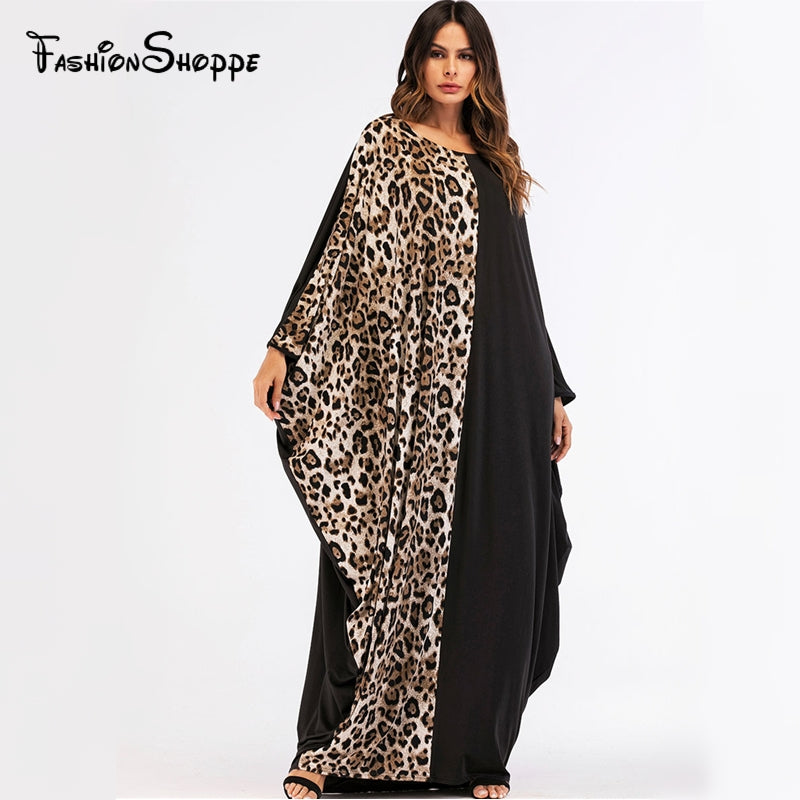 Casual Print Leopard Full Dress Bat Sleeve Maxi Abaya Muslim Loose Kimono Long Skirt Robe Gowns Middle East Islamic Clothing-HIJAB & BURKA-US MART NEW YORK