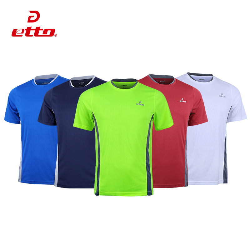 Etto Quality Men Sports Breathable Leisure Training Short Sleeve Soccer Jersey Tops Football Team Uniform Training Shirts-JERSEY-US MART NEW YORK