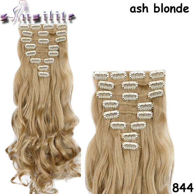 8Pcs/set Clip On Hair Extension 24 inch Natural & Thick Hairpieces Curly Synthetic Clip In Hair Extensions