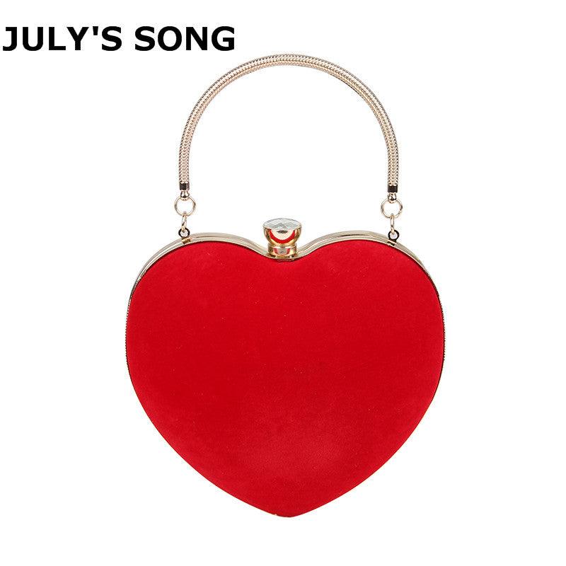 JULY'S SONG Evening Bags Heart Shaped Diamonds Red/Black Chain Shoulder Purse Day Clutch Bags For Wedding Party Banquet Bag-HANDBAGS-US MART NEW YORK