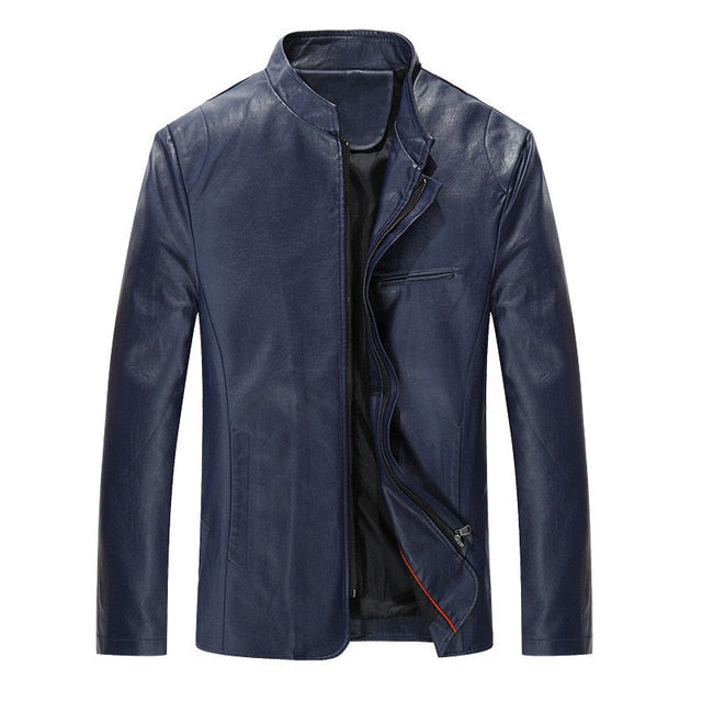 Men's New PU Leather Stand Collar Jackets-JACKETS-US MART NEW YORK