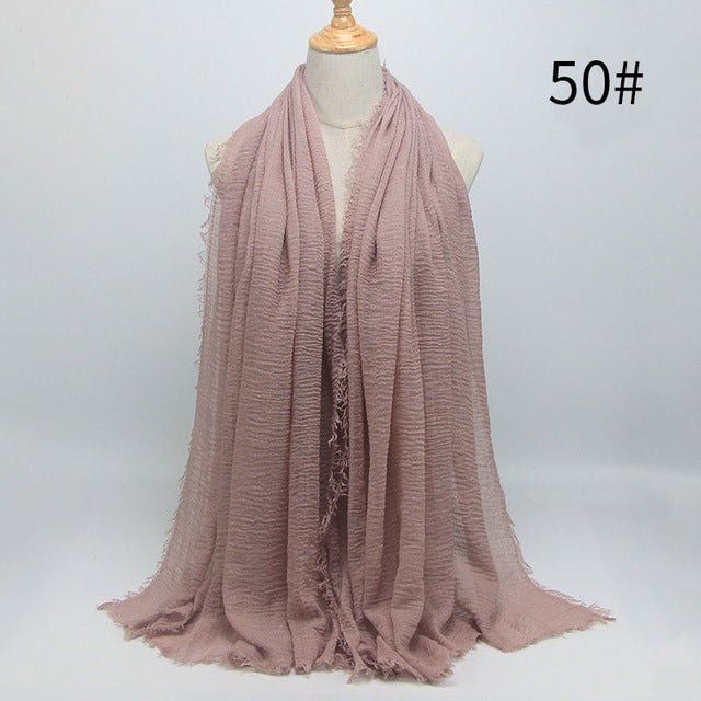 New 56 Solid Colors Cotton Crinkle Hijab Scarf Women Plain Wrinkle Head Hair Hijab Scarves for Ladies Neckerchief-HIJAB & BURKA-US MART NEW YORK