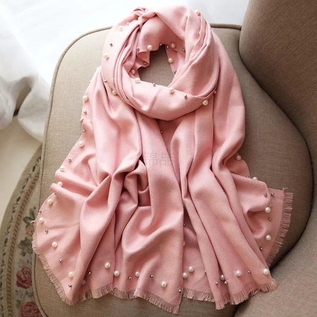 Hot Sale New Pink Solid Beads Women's Artifical Cashmere Pashmina Scarf Warm Scarf Shawl Fashion Large Scarfs 190x70cm-HIJAB & BURKA-US MART NEW YORK