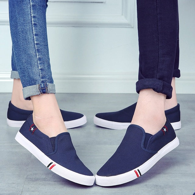 Couple mens casual loafers shoes breathable light fabric fashion spring autumn solid black blue flat with cheap male shoes-US MART NEW YORK