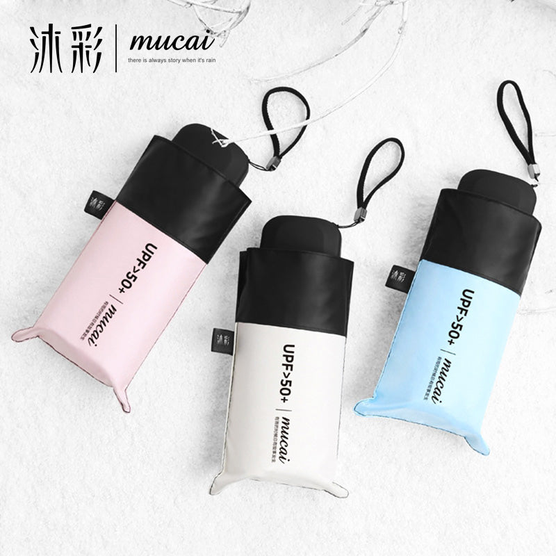 MUCAI Pocket Mini Umbrella Sunscreen Anti UV Five Folding Umbrellas Women Men Brand Glassfiber Windproof Light Portable Parasol-UMBRELLA-US MART NEW YORK