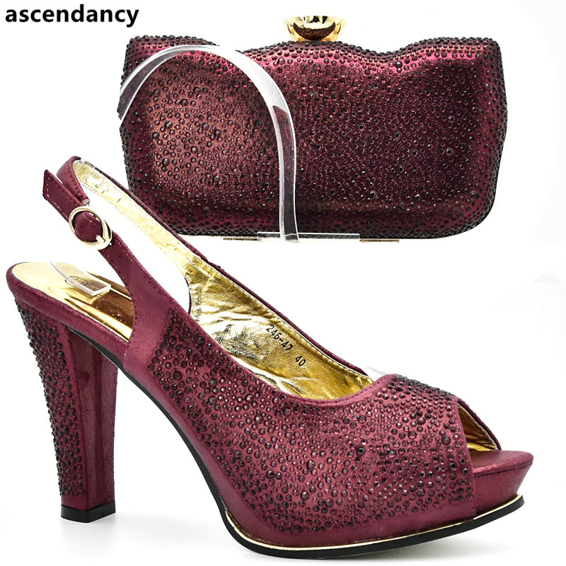 Italian Shoes with Matching Bags High Quality Shoes and Bag Set-HIGH HEELS-US MART NEW YORK
