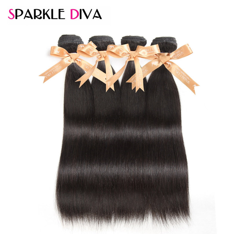 SPARKLE DIVA HAIR  Peruvian Straight Hair Weave 100% Human Hair Bundles 3 or 4 Bundles/lot Non Remy Hair Extensions