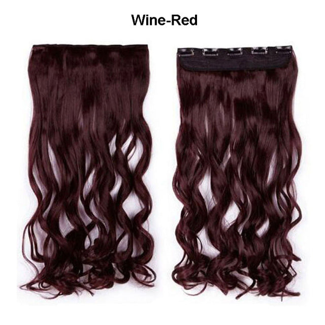 "SNOILITE 17/24/27/29"" Long Curly Synthetic Clip in Hair Extensions Half Full Head Hairpiece 5 clips One Piece Black Brown Blonde-HAIR EXTENSIONS-US MART NEW YORK"