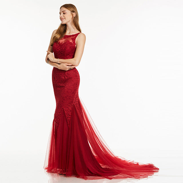 Dress-V Evening Dress Sleeveless Mermaid Scoop Neck Backless Sweep Train Wedding Party Formal Trumpet Evening Dresses-Dresses-US MART NEW YORK