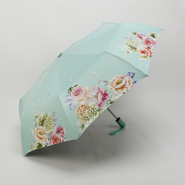 Black Coating sunscreen sunny umbrella rain woman three folding umbrella female Automatic princess flower umbrella SMSY-1-UMBRELLA-US MART NEW YORK