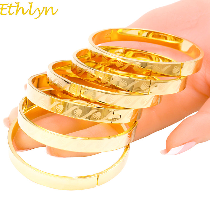 6pcs/lot Women Unique Punk Style Laser Bangles Gold Color Jewelry Girl Accessories-Bracelets-US MART NEW YORK