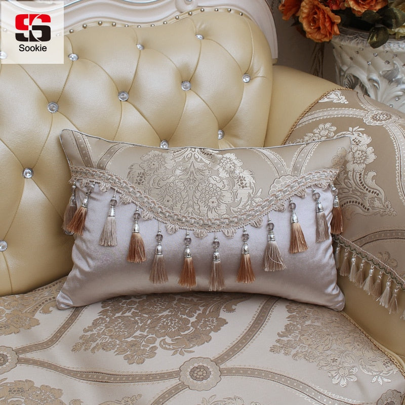 Rectangle Cushion Cover Floral Print with Tassel Throw Pillowcase Luxury Decorative-PILLOWS & COVERS-US MART NEW YORK