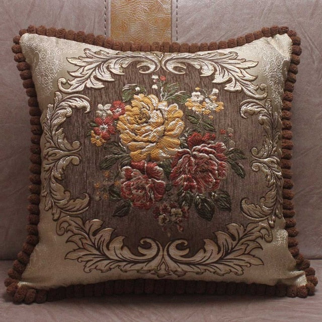 Chenille Fabric Jacquard Embroidered Cushion Covers Royal Elegant-PILLOWS & COVERS-US MART NEW YORK