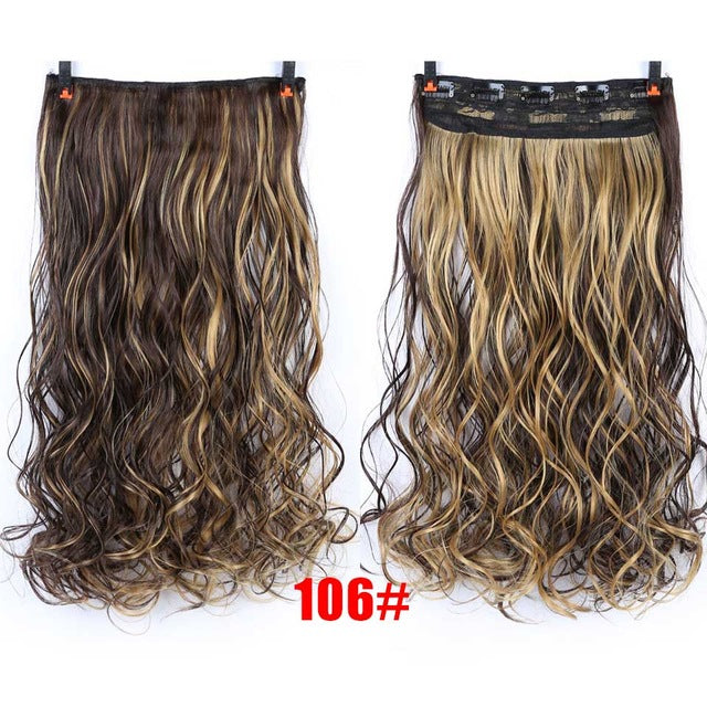 70cm 5 Clip In Hair Extension Heat Resistant Fake Hairpieces Long Wavy Hairstyles Synthetic Clip In On Hair Extensions