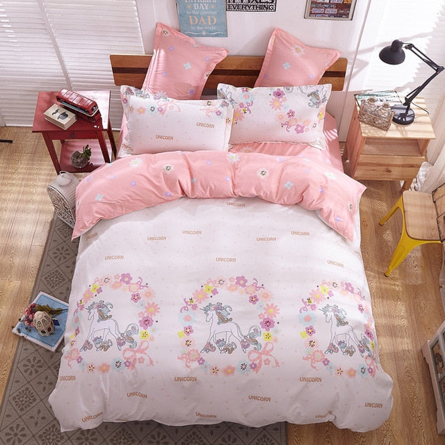 Cartoon Unicorn Bed Linens Bedspread Quilt Cover Fitted Flat Bed Sheet Pillow Cover-Blankets and Bedding-US MART NEW YORK