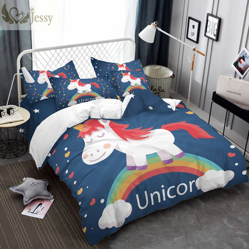 3D Bedding Set Cartoon Unicorn Design for Kids-Blankets and Bedding-US MART NEW YORK
