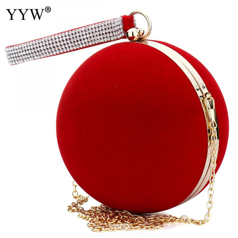 Unique Velvet Iron-On Lady Handbag Red Shoulder Clutch Bag Spherical Evening Bag Small Purse Chain Shoulder Bolsos Mujer-HANDBAGS-US MART NEW YORK
