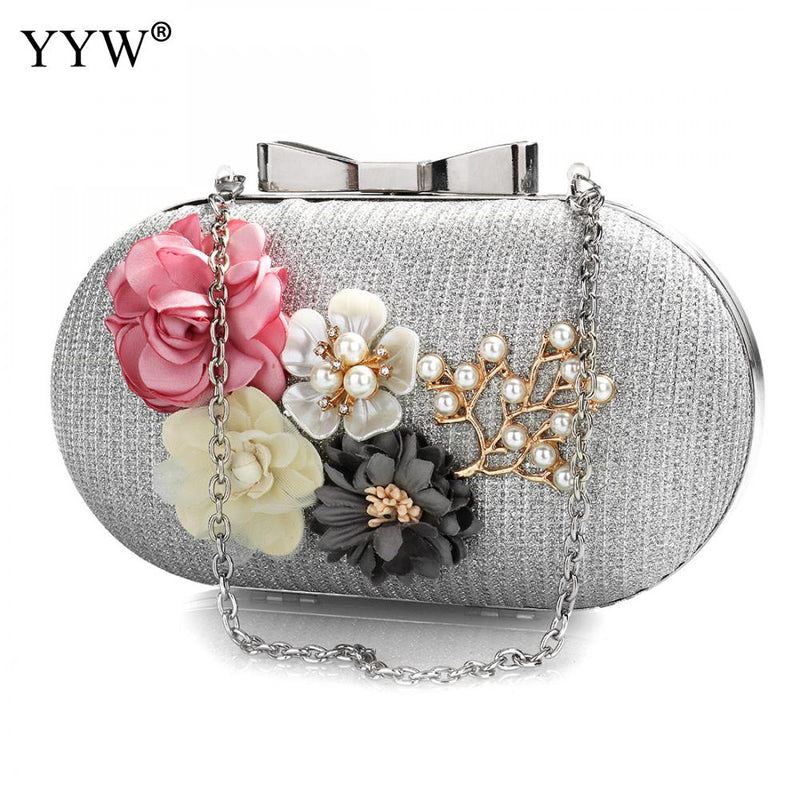Elegant Women Leather Clutch Bag Floral Shoulder Bags Day Clutch Wallet Wedding Purse Party Woman Evening Bag Black Gold Silver-HANDBAGS-US MART NEW YORK