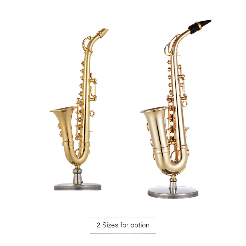 Mini Brass Alto Saxophone Sax Model Exquisite Desktop Musical Instrument Decoration Ornaments Musical Gift with Delicate Box