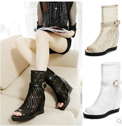 Flats Women Cut Out Ankle Boots Lace Woman Knight Summer Lady Fashion Sexy Short Open The Toe Cutout Boots