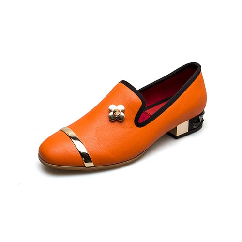 Spring Autumn Genuine Leather Women Low Heels Casual Pumps-HIGH HEELS-US MART NEW YORK