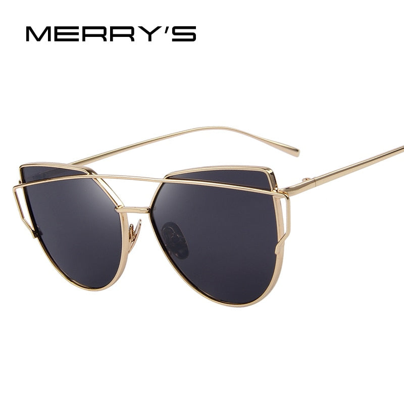 MERRY'S Fashion Women Cat Eye Sunglasses Classic Brand Designer Twin-Beams Sunglasses Coating Mirror Flat Panel Lens-WOMEN SUNGLASSES-US MART NEW YORK