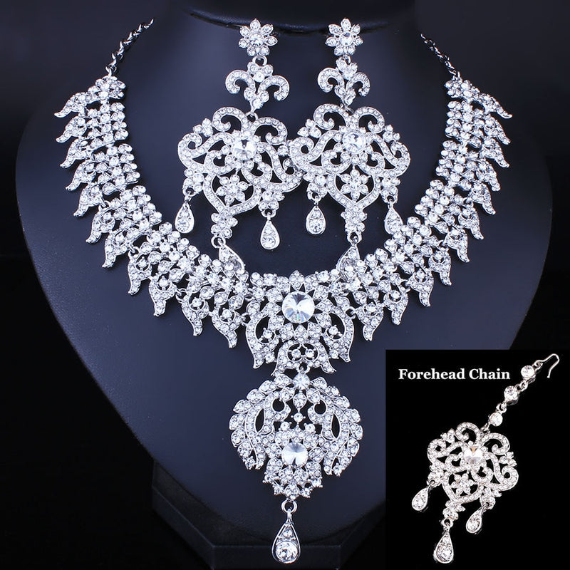 3PCS Full Crystal Rhinestone Necklace Earrings and Forehead chain-JEWELRY SETS-US MART NEW YORK