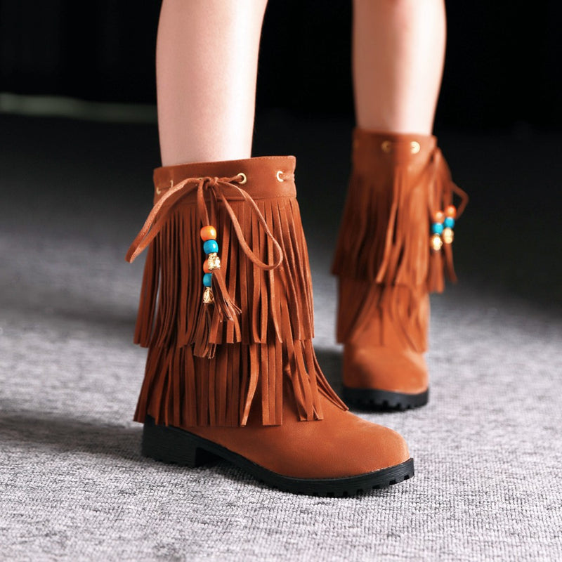Low Heel Tassel Flock Pearl Pendant Women Autumn Winter Ankle Boots Lady Fringe Casual Suede Short Boots