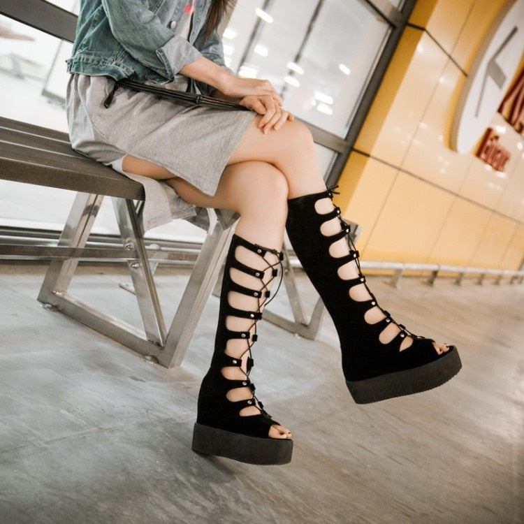 Women Summer Chunky Heel Height Increase Elevator Open The Toe Lace Up Back Zipper Knee High Sandals Boots