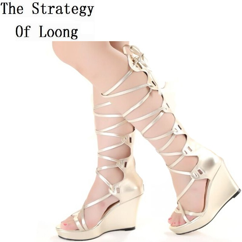 affordable price lower price with top quality Wedges High Heels Lace Up Knee High Gladiator Sandals Boots New Arrival  Open The Toe Cut Out Women Summer Boots