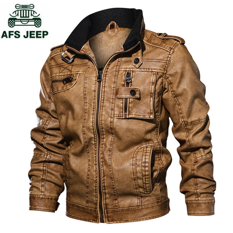 Brand Leather Jacket Men Vintage Causal PU Leather