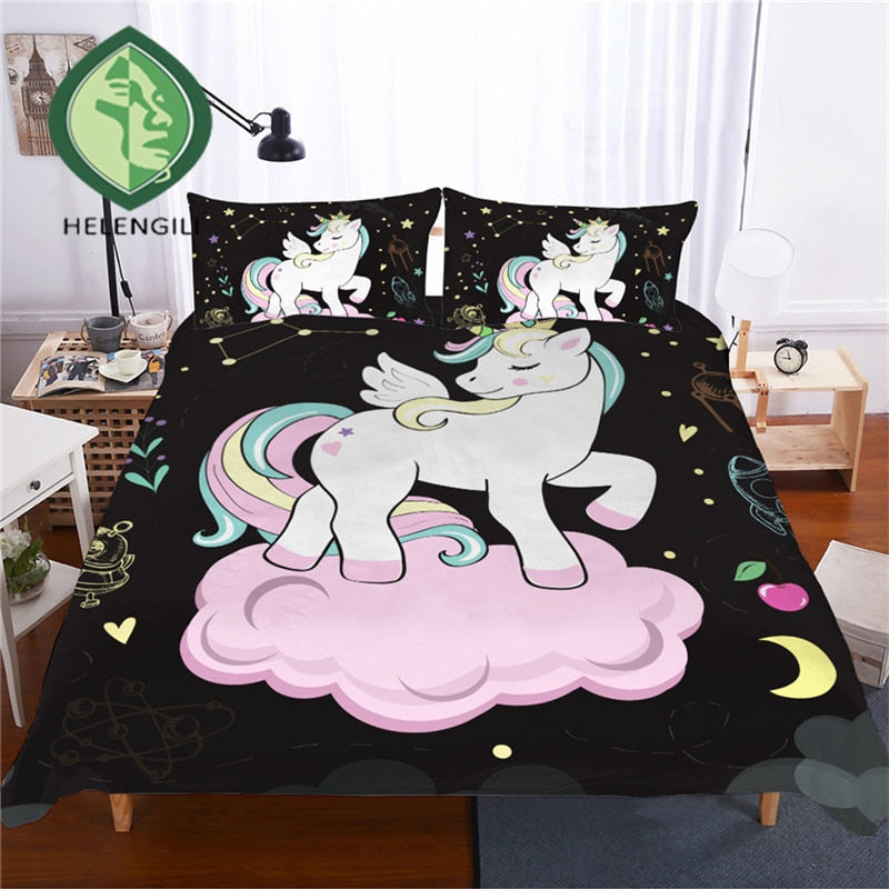 3D Bedding Set Unicorn Print Duvet cover set-Blankets and Bedding-US MART NEW YORK