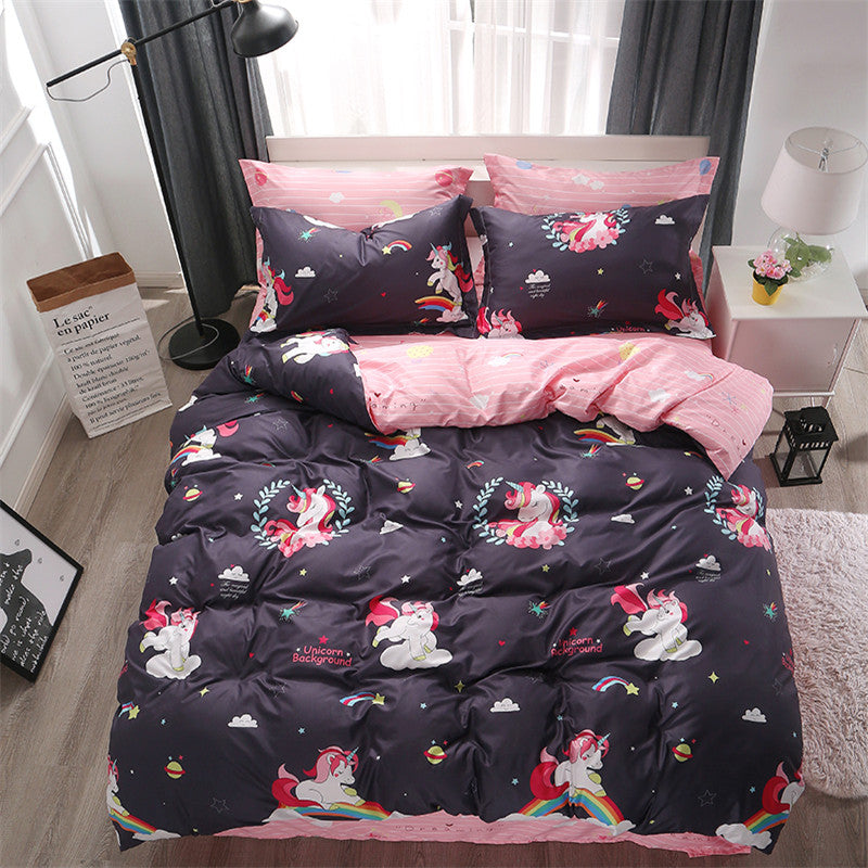 Unicorn Bedding Set Cartoon Print for Kids-Blankets and Bedding-US MART NEW YORK