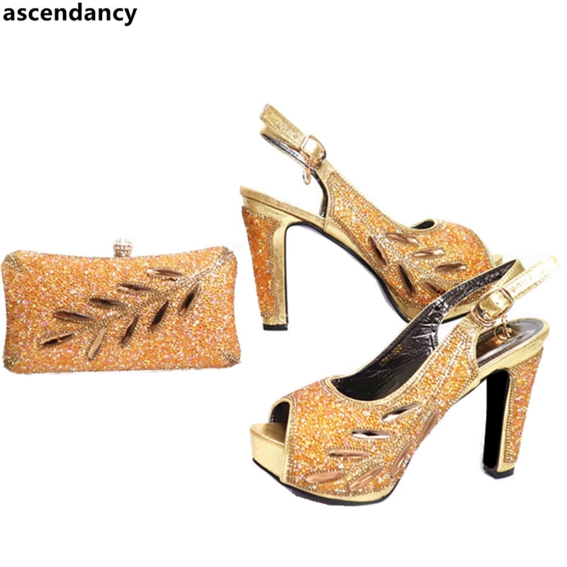 New Arrival Shoes and Bag Set Decorated with Rhinestone-HIGH HEELS-US MART NEW YORK
