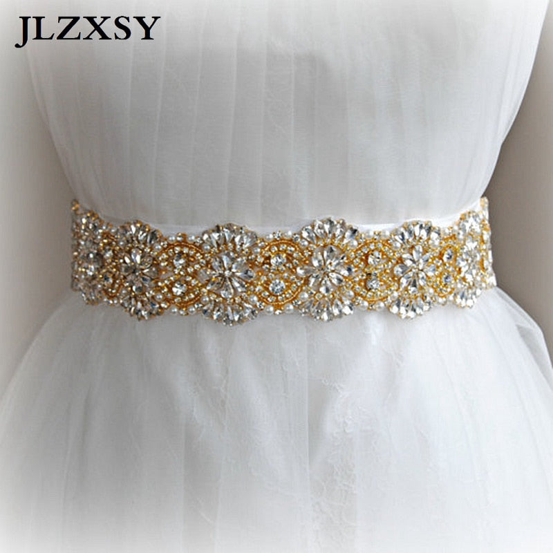 Pearls Beaded Crystal Rhinestone Wedding Belts Bridal Sash Belts-WOMEN BELTS-US MART NEW YORK