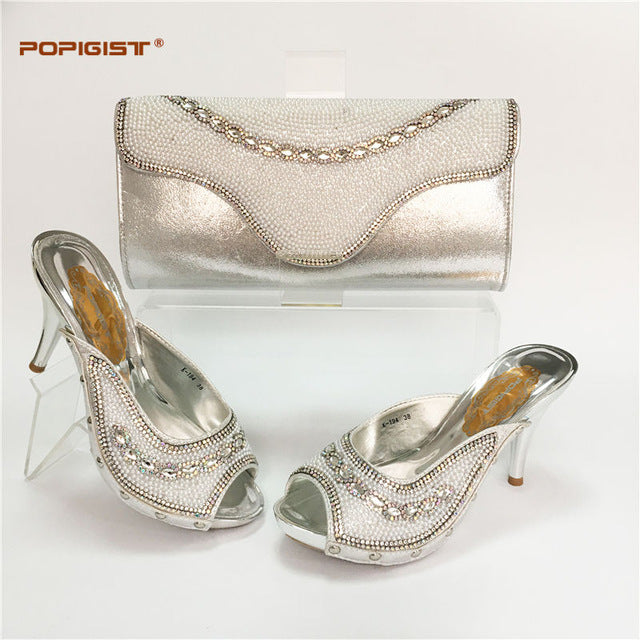 High Quality Italian Ladies Shoes and Bag Set Decorated with Rhinestone-HIGH HEELS-US MART NEW YORK