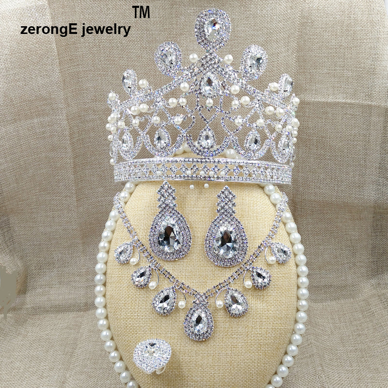 Gorgeous tall pageant brilliant rhinestone wedding crown/tiara, Necklace, Earrings bridal jewelry set