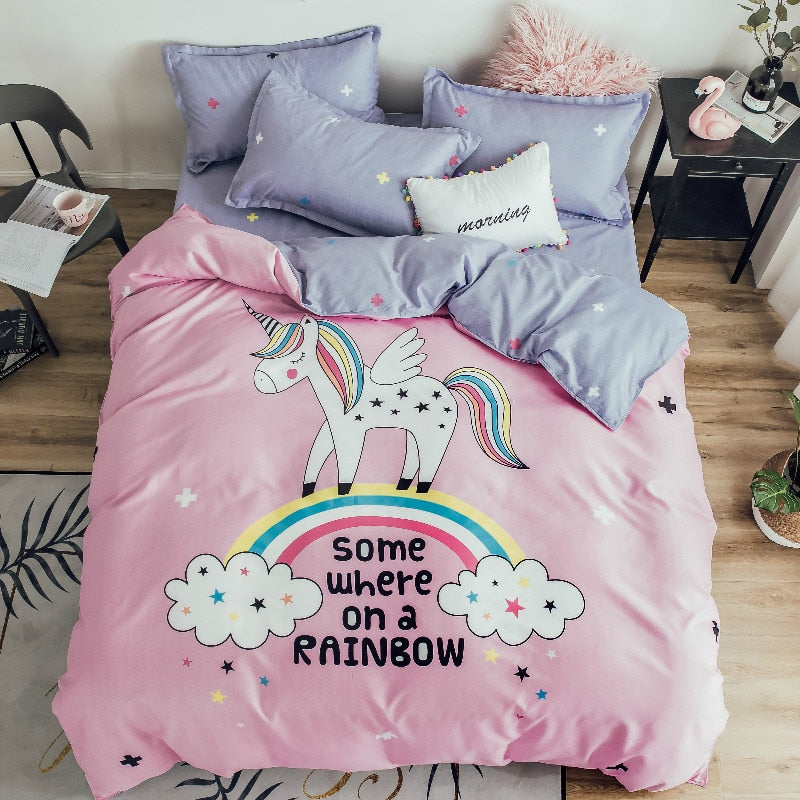 Cotton Cartoon Rainbow Unicorn Bedding Set for Kids-Blankets and Bedding-US MART NEW YORK